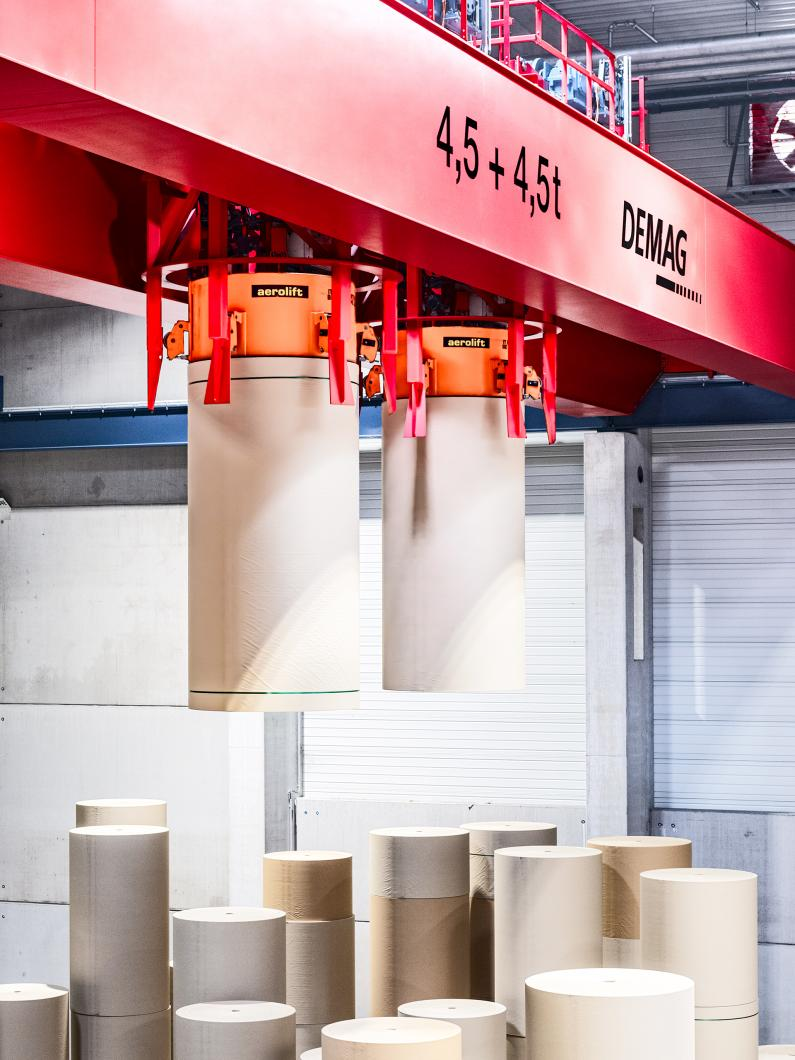 Demag process crane paper roll store
